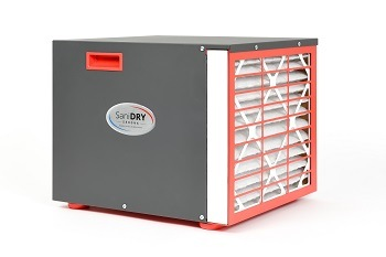 Front and side view of the SaniDry Sedona dehumidifier unit